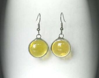 Yellow Glass Jewel Earrings
