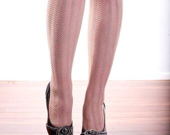 Vintage High Quality Beige Skin Tan Lattice Stockings Tights Pantyhose