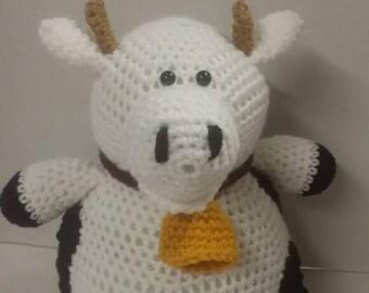 Cow, farm animal, crocheted toy, Amigurumi, stuffed toy, pushed animal, gift for boy or girl