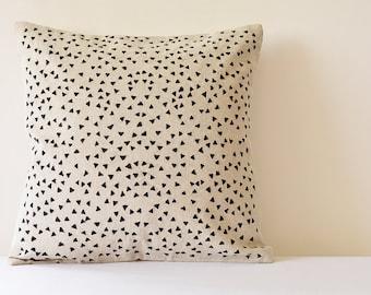 So Fun! Triangle Confetti on Linen Pillow Cover , Black Confetti Embroidered Cushion Cover , Black and Natural Cotton Linen Pillow Cover