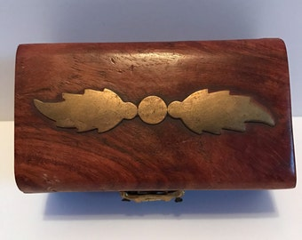 ON SALE!! Small Antiqe 1800s Maple Box With Brass Inlay