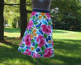 Wrap Skirt Reversible Floral with Navy
