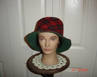 "Flannel Tartan Plaid Bucket Hat  22""   Free Shipping"