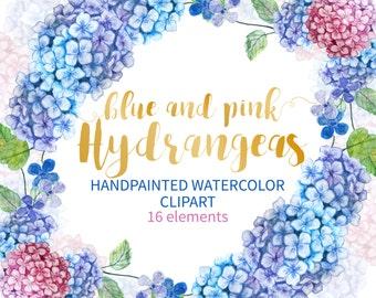 Watercolor Hydrangea, Hydranges Clip Art, Hydrangea Floral Clipart, Watercolor Wreath, Hydrangea Clipart Wedding Invitation Wedding Clip Art