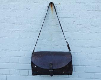 Vintage 40 french antique leather mechanic's/plumber shoulder bag