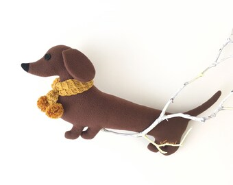 Sausage dog soft toy ( dachshund pillow, long dog cushion ) - Free shipping within the UK