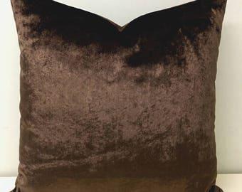 Luxury Brown Velvet Pillow Cover, Brown Pillows, Velvet Pillow, Decorative Pillow, Throw Pillows, Velvet Cushions, Brown Velvet Pillow Cover