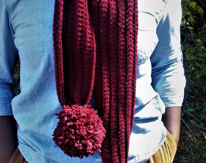 Burgundy Long Crochet Pom Pom Scarf (CHOOSE YOUR COLOR)