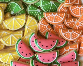 Mini Fruit Slice Cookies *watermelon, lemon, lime, or orange* Hand Decorated All Natural Butter Cookies - 5 dozen