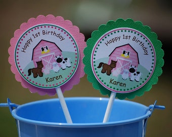 Barn Yard Farm Animals Pink Cupcake Toppers - Set of 12 Personalized Birthday Party Decorations