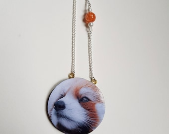 Red panda polymer clay necklace