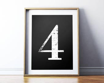 "Digital Print ""4"" Number Four Printable Poster, Numerology Vintage Number Art Decor, Typography No 4 Wall Art *Instant Download PDF & JPG*"