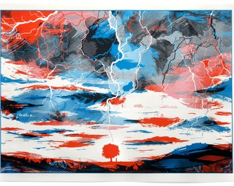Screen print called When Lightning Strikes Limited edition hand made artwork. Clouds - electric - landscape - nature