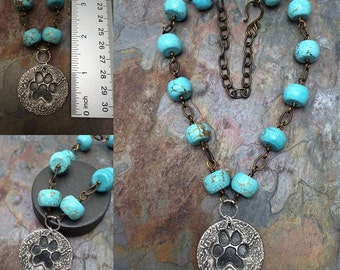 Pure Silver Paw Print with Turquoise Necklace, Ready to Ship, PMC Precious Metal Silver Class