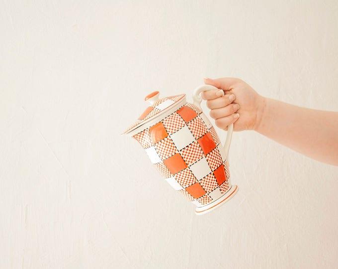 Vintage plaid teapot pitcher kettle, lid, white burnt orange black ceramic, Checkers, Japan 1960s 1970s retro kitchen decor