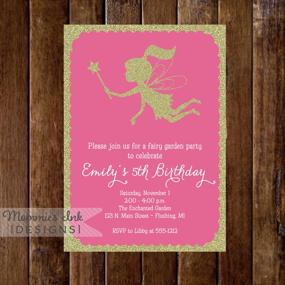 Gold glitter fairy 5th birthday party invitation fairy gold glitter fairy 5th birthday party invitation fairy garden party invite girls invite printable invitation design filmwisefo Images