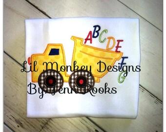 ABC's Dump Truck Back To School outfit **Listing for AV**