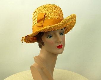 1980s hat raffia straw hat fedora gold Ferncroft Size M