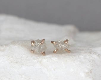 14K Rose Gold Uncut Diamond Earrings - Raw Diamond Earring Stud - 14K Rose Pink Gold - Ethically Sourced Diamonds - Studs - Made in Canada