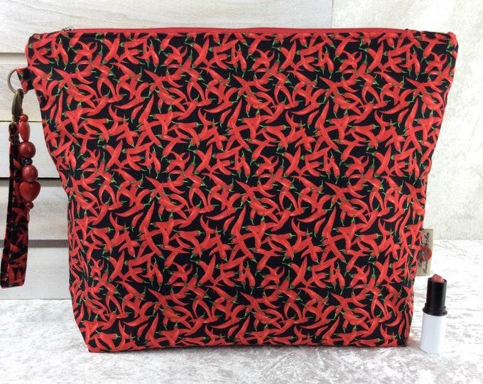 Handmade Giant Zipper Case Zip Pouch fabric Bag Purse Chilli Peppers Chillis