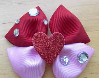 Red and Pink Valentine's Hair Bow with Rhinstones and Glitter Heart, Valentine's Day Hair Bow, Valentine's Bow, Red and Pink Hair Bow Clip