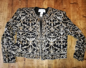Vintage embroidered silk jacket top beaded beads glass 90s jacket size small