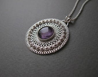 Amethyst  necklace, February Gemstone pendant, Silver necklace, amethyst jewelry, Gigt for mom, Silver filigree Jewelry