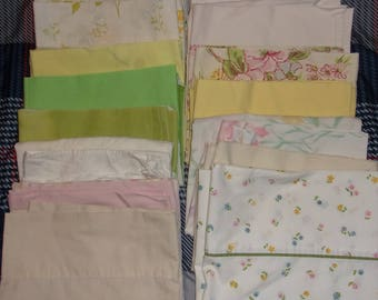 Vintage Pillowcase Cutter Fabric Lot of 17