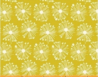 ORGANIC Cotton Fabric Burst on Chartreuse by Windham Fabrics Hand Picked Collection, Carolyn Gavin, Blender Fabric, Quilting Fabric