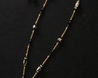 New! Black Cloisonne Heart Necklace
