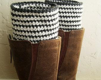 Striped Boot cuffs - Crochet Boot Toppers - Leg Warmers - legwarmers - Warm winter accessory - Winter Fashion - Made in America