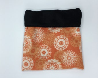 Fleece Sleep Sack, Cuddle Sack, Orange Indian Flowers, for Hedgehogs, Sugar Gliders, Guinea Pigs, Rats, and other Small Animals