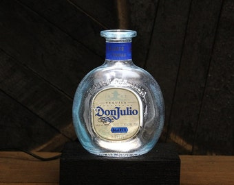 Don Julio Tequila Bottle LED Light / Reclaimed Wood Base & LED Desk Lamp / Handmade Tabletop Lamp / Upcycled Liquor Bottle Lighting