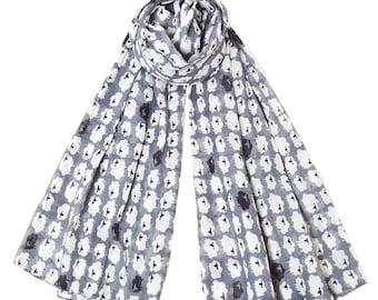 Sheep Print Cotton Scarf in Grey by Sophia Costas