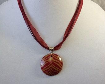 "Burgundy/Tan - Approx 20"" length(1.5""x 1.5"" pendant)"