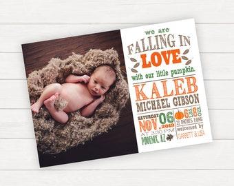 Birth Announcement Newborn Announcement Baby Announcement Fall Baby Photo Announcement Fall In Love Digital Announcement Announcement Card