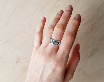 Turquoise River Ring, Wire Ring, Silver Ring, Sterling Silver Jewelry, Handmade Ring,  Sterling Silver .925