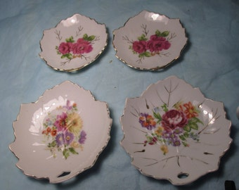 4 Vintage LEAF DISHES with FLOWERS 2 Occupied Japan 2 Japan mid century chic
