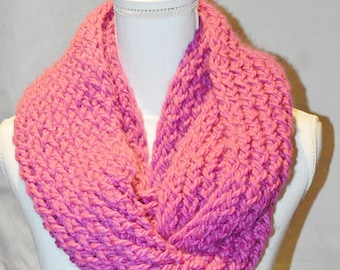 Knit Infinity Scarf For Women, Pink Infinity Scarf, Fuchsia Loop Scarf, Chunky Circle Scarf, Gift Idea