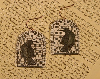 Crow earrings Raven earrings Art earrings