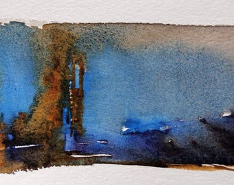 Hand Painted Note Card, Greeting Card, Abstract Watercolor, Long and Skinny, Blank Inside, OOAK, cobalt, gold, purple