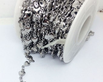 5 Meters Stainless Steel Solid Heart Sideways Soldered Oval Link Chain Jewelry Making 10x5.3mm