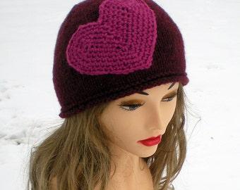 Heart Applique Knit Hat Chestnut Maroon Fuschia