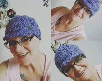 "Crochet ""Deb Newsboy Cap"" / Lace Newsboy Cap / Lace Newsboy Hat / Newsboy Chemo Cap / Newsboy Chemo Hat / Lace Chemo Cap / Ombre Newsboy Cap"