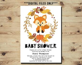 Fox Baby Shower Invitation, Autumn Baby Shower Invitation, Printable Forest invite, Woodland Baby Shower, Printable Digital File