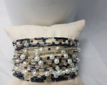 Silver, Blue, Pearl, Seed Bead, Bracelets, Bangles, Arm Candy, Stackable, Lot of 20