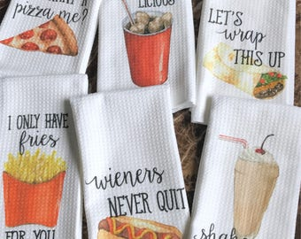 Funny Kitchen Towels - Junk food Lover - Gift for Foodie - Hostess Gift - Dish Towels - Housewarming Gift - College Gift - Wedding Shower Gi