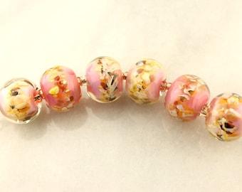 Lampwork Glass Bead Set Iridescent Pink, Peach, Green, Gold
