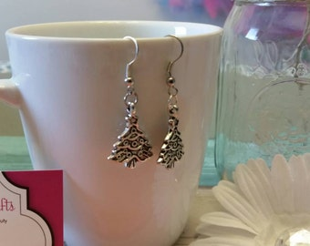 Silver Decorated Christmas Tree Charm Earrings