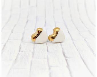 Heart earrings porcelain earrings white and gold earrings gold studs heart shaped studs gold studs pottery earrings nickel free earrings